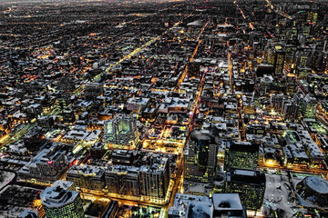 Wide aerial view of the Toronto city center at night