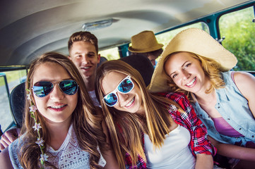 Young hipster friends a on road trip
