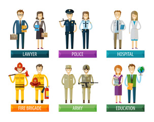 people vector logo design template. police, firefighting service