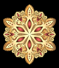 Abstract vector colorful round lace design in mono line style -
