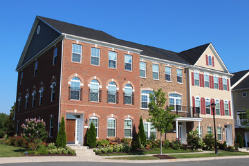 Townhouses in the Richmond suburbs in the sunny summer day