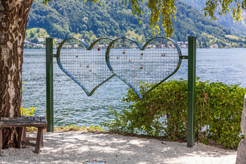 Love oath - grid hearts with nature background
