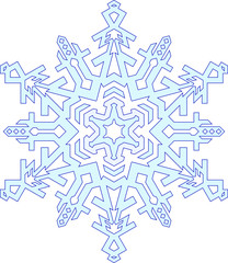 Outlines of snowflake in mono line style. Vector geometric patte