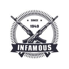 vintage emblem, sign, t-shirt design, print, infamous since 1949 vector illustration, eps10, easy to edit