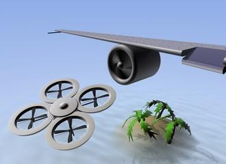 Drone vliegt bijna tegen vliegtuig vleugel aan