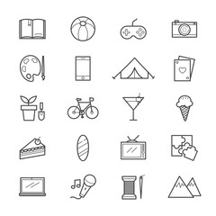 Hobbies and Activities Icons Line