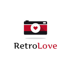 Vector flat retro photo camera logotype