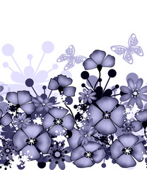 Vertical seamless pattern of purple poppies and flowers