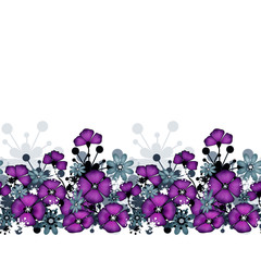 Pattern of purple poppies and flowers background