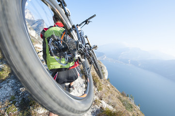 Moutainbike trail - blurred motion - garda lake