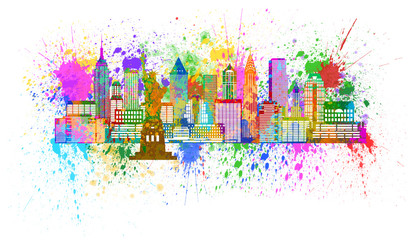 New York Skyline Paint Splatter Illustration