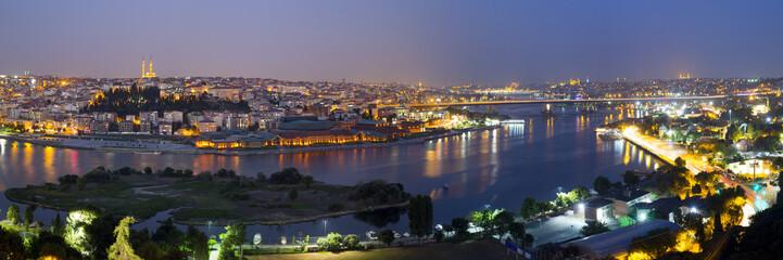 Aluminium Prints Los Angeles Golden Horn night panorama Halic in Turkish