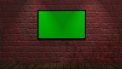 brick wall with green screen picture frames, wood floor