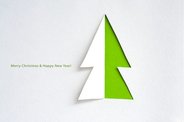 Greeting card with paper fir tree
