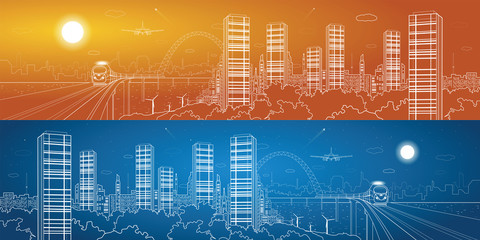 City and transport panorama, vector lines landscape, night town