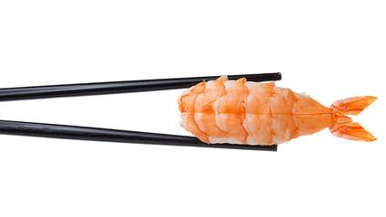 Printed roller blinds Sushi bar Shrimp sushi nigiri in chopsticks iolated on white background