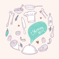Round illustration with stylized food, hand lettering and