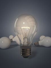 """3 D render of field of light bulbs. One is """"standing out from the crowd""""."""