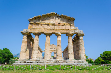 View over temple of Cerere situated in ancient ruin complex in Paestum