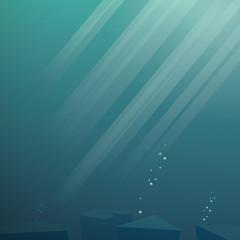 Underwater vector background. Sea scene with sunbeams through