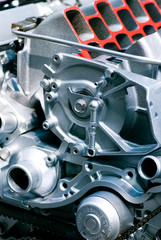 Cut metal engine.