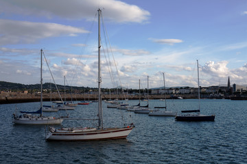 Boats in the harbour of Dun Laoghaire, Ireland.