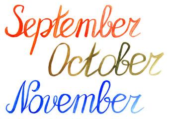 Autumn month september october november season typographic set
