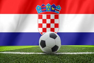 Croatia waving flag and soccer ball