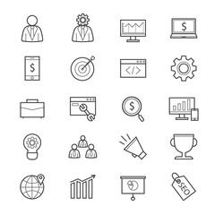 SEO Development Icons Line