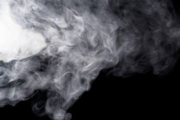 Abstract smoke hookah on a black background.