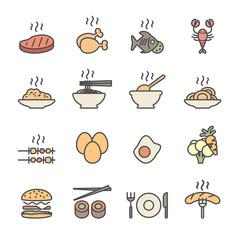 food icon set, flat line color version, vector eps10