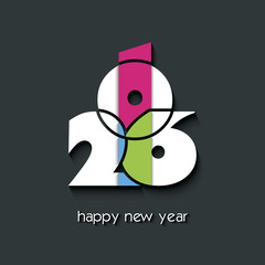 2016  new year creative background for your greetings card