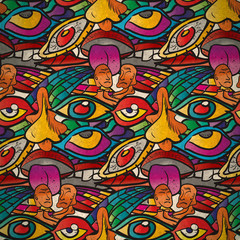 Seamless pattern of psychedelic parties in vintage style