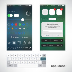 Vector thin icons design set for app smartphone