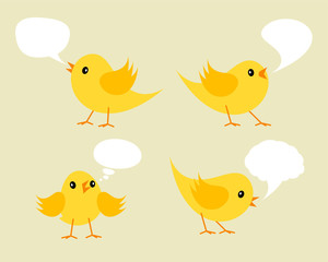 Set of Twittering Yellow Chicks.
