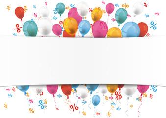 White Paper Banner Emblem Balloons Percents
