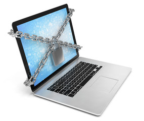 3d illustration computer security. laptop locked with chains and