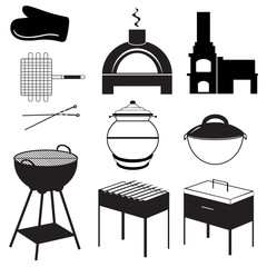 BBQ, picnic, barbecue icons. Barbecue devices. Vector illustration.
