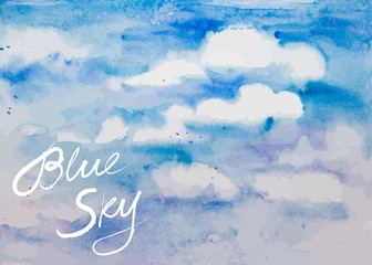 Vector Watercolor Blue Sky