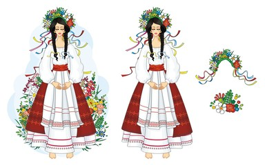 Ukrainian, girl in national costume with flowers
