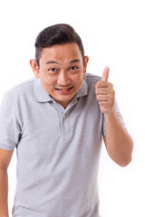 happy man giving thumb up gesture