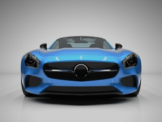Sports car front view. The image of a sports blue car on a white