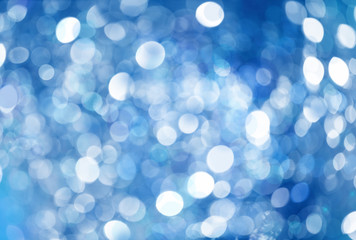 Blue Bokeh Christmas Winter Background