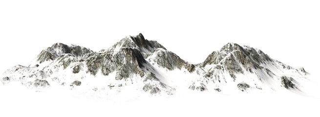 Snowy Mountains - Mountain Peak - separated on white background