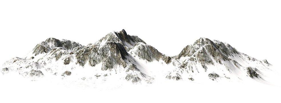 Snowy Mountains - Mountain Peak - separated on white background