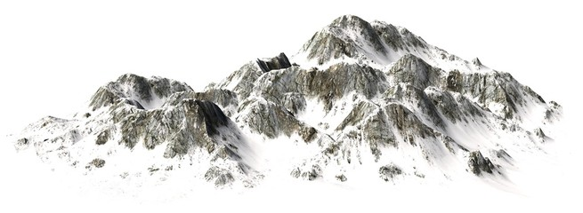 Snowy Mountains - Mountain Peak - separated on white background Wall mural