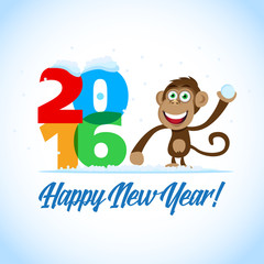 Happy New Year 2016. New Year postcard with monkey and big colorful 2016 figures. New Year Card, t-shirt, banner template.