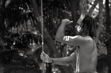 Yugambeh Aboriginal warrior man hunting