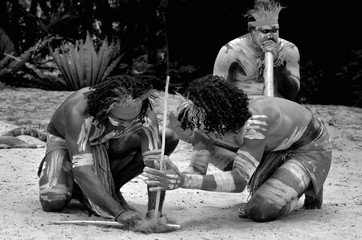 Yugambeh Aboriginal warriors men demonstrate fire making craft
