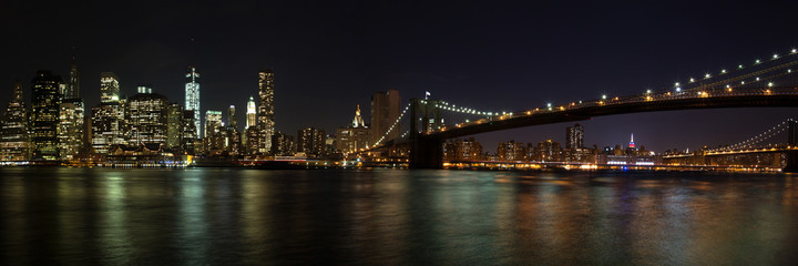 Custom blinds with your photo New York - Manhattan mit Brooklyn Bridge Panorama bei Nacht